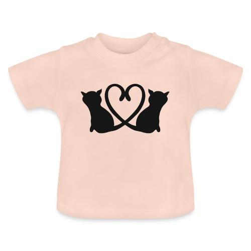 Katzen bilden ein Herz mit ihren Schwänzen - Baby T-Shirt
