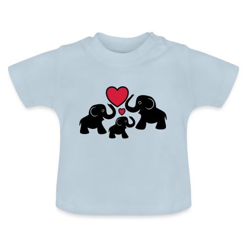 Zu dritt Elefanten Familie Mama Papa Baby Herz - Baby T-Shirt
