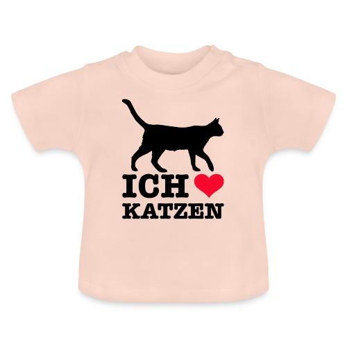 Ich liebe Katzen mit Katzen-Silhouette - Baby T-Shirt