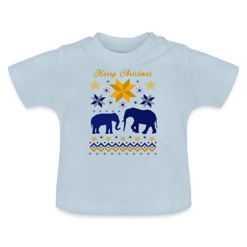 Merry Christmas I Elefanten - Baby T-Shirt