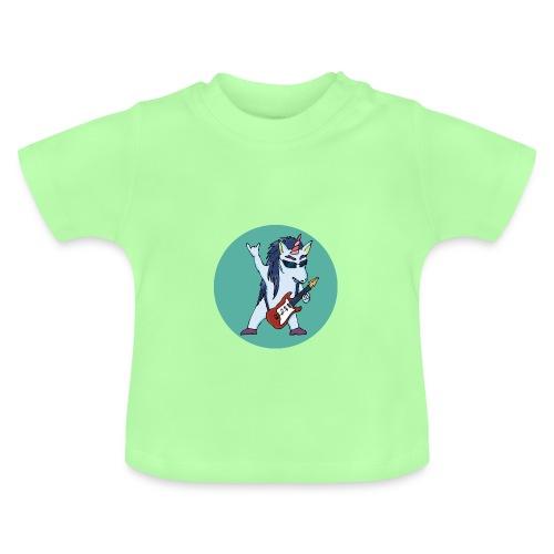 Licorne guitare metal fond vert bleu - T-shirt Bébé