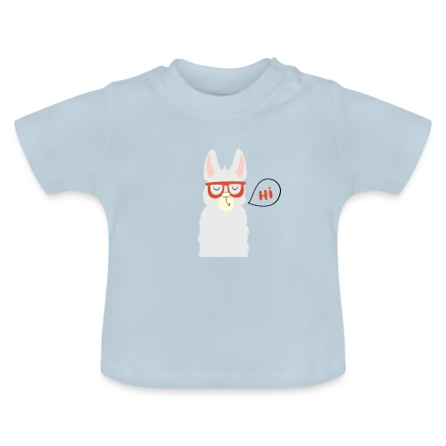 Llama with red glasses (black) - Baby T-shirt