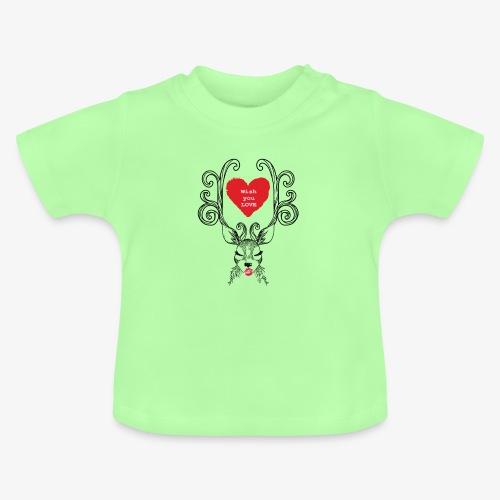 cerf de noel Wish you Love - Baby T-Shirt