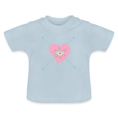 CORAZON CON FLORES - Camiseta bebé