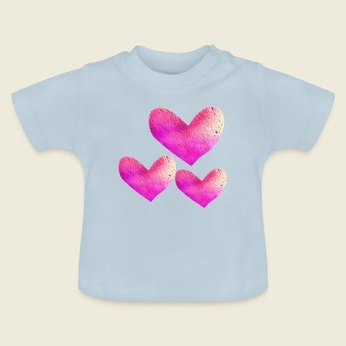 Drei pinke Herzen voller Liebe - Baby T-Shirt