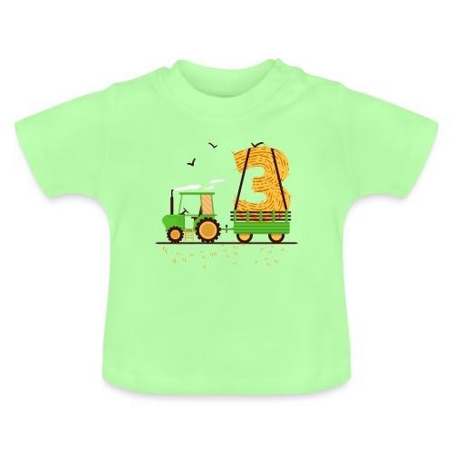 Traktor mit Anhänger 3. Geburtstag Geschenk Drei - Baby T-Shirt