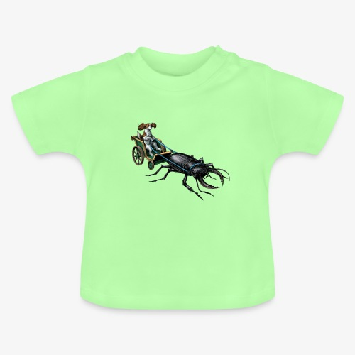 King Charles Spaniel with Stag beetle steed - Baby T-Shirt