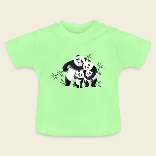 Pandafamilie zwei Kinder - Baby T-Shirt