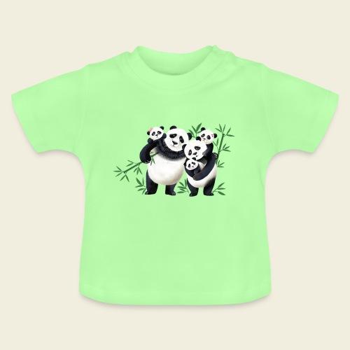 Pandafamilie drei Kinder - Baby T-Shirt
