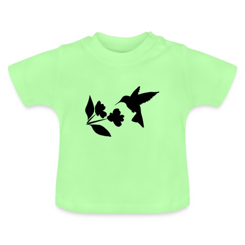 kolibrie met bloem - Baby T-shirt