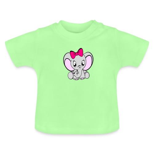 Baby meisje Olifant met grote strik - Baby T-shirt