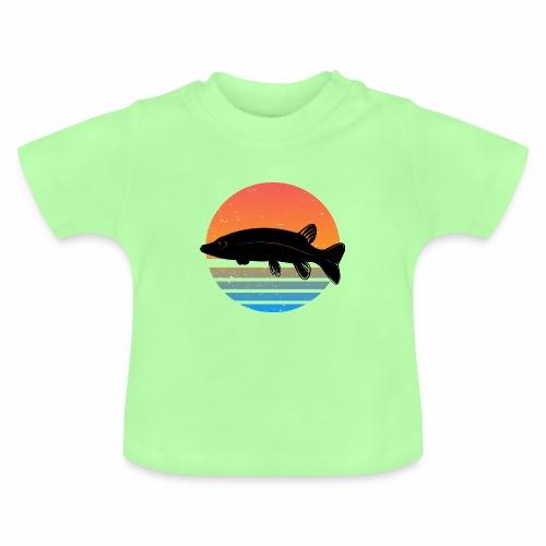 Retro Hecht Angeln Fisch Wurm Angler Raubfisch - Baby T-Shirt