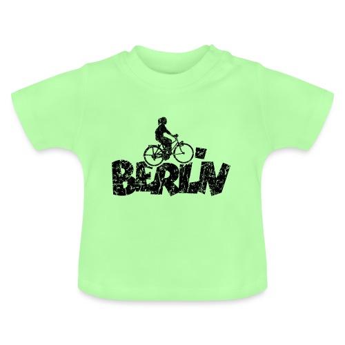 Berlin Fahrrad (Vintage/Schwarz) Fahrradfahrerin - Baby T-Shirt