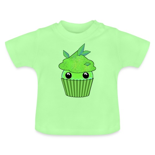 Green Kawaii Cupcake with mint or green tea leaf - Baby T-Shirt