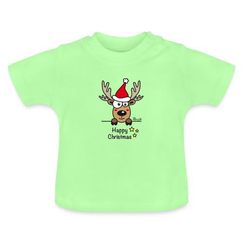 Renne Joyeux Noël - Happy Christmas, Humour, Drôle - T-shirt Bébé