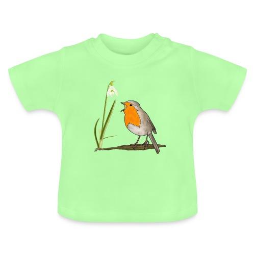 Frühling, Rotkehlchen, Schneeglöckchen - Baby T-Shirt