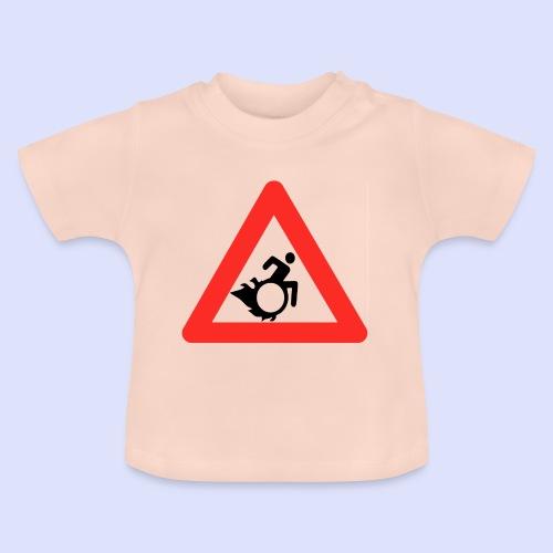 Pas op rolstoel gebruiker met vlammen 002 - Baby T-shirt