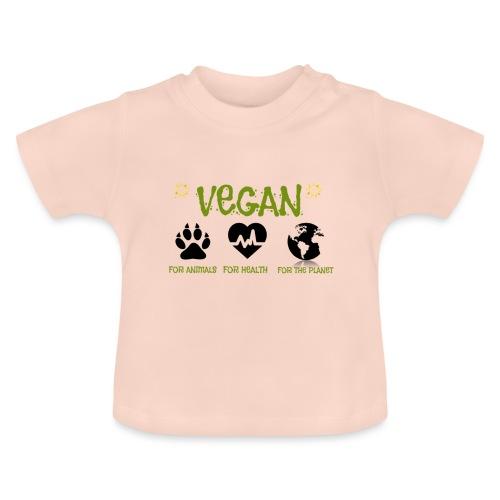 Vegan for animals, health and the environment. - Camiseta bebé