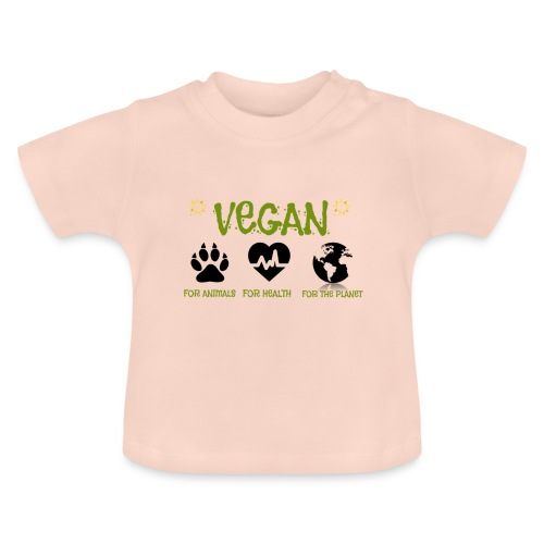 Vegan for animals, health and the environment. - Camiseta bebé