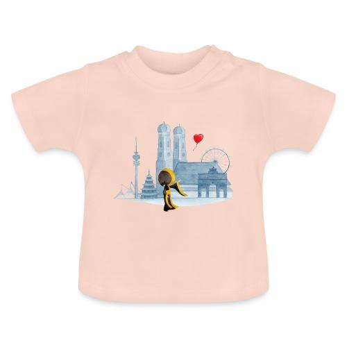 Skyline München mit Münchner Kindl und Herz - Baby T-Shirt