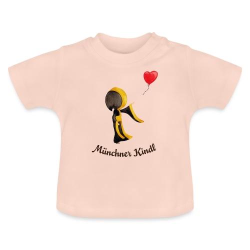 Münchner Kindl mit Herz-Luftballon und Text dunkel - Baby T-Shirt