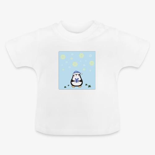 christmas penguin on blue background - Baby T-Shirt