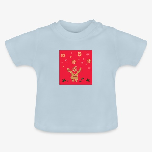 Santa Claus on a red background and snowflake - Baby T-Shirt