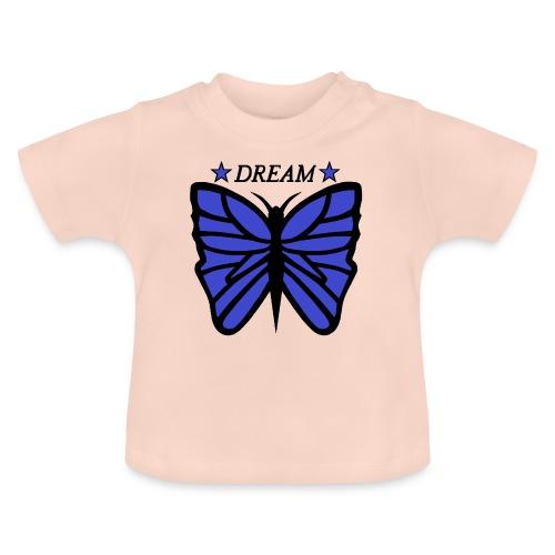 Motiv på en fjäril med ordet dream över. - Baby-T-shirt