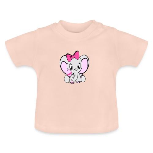 Baby olifantje met rammelaar en grote roze strik - Baby T-shirt