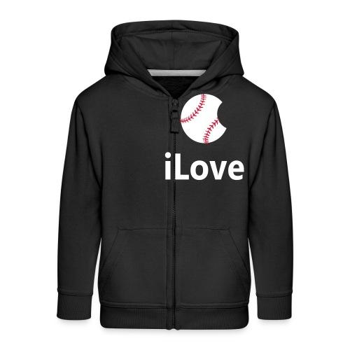 Baseball Logo iLove Baseball - Kids' Premium Zip Hoodie