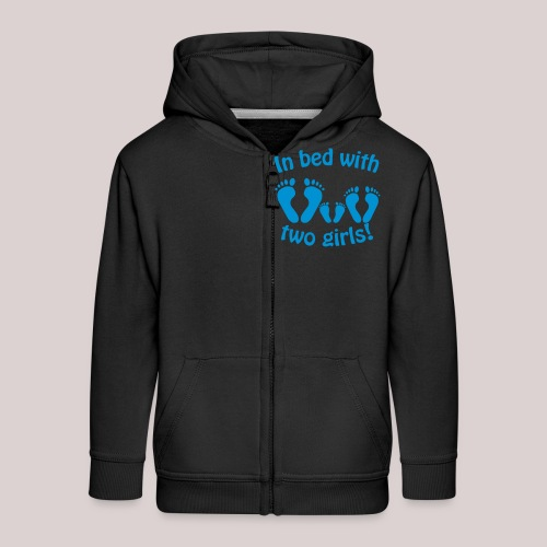 In bed with two girls daddy and his girls Papa - Kinder Premium Kapuzenjacke
