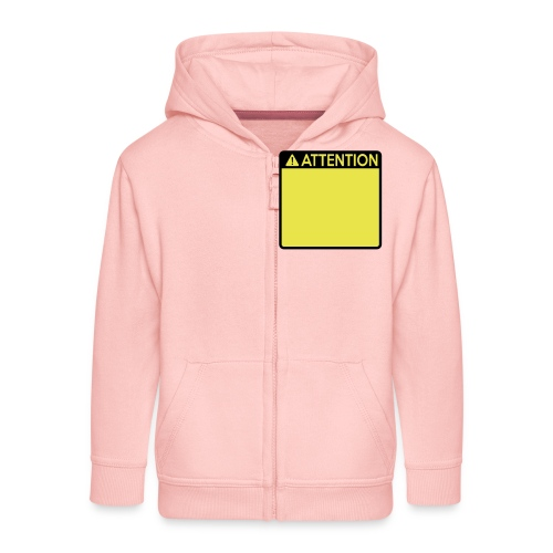 Attention Sign (2 colour) - Kids' Premium Zip Hoodie