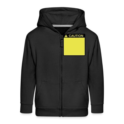 Caution Sign (2 colour) - Kids' Premium Zip Hoodie