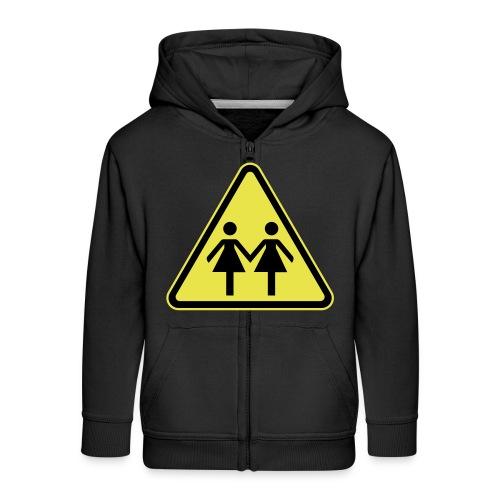 ACHTUNG LESBEN POWER! Motiv für lesbische Frauen - Kinder Premium Kapuzenjacke