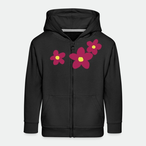 Three Flowers - Kids' Premium Zip Hoodie