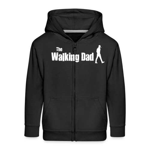 the walking dad white text on black - Kids' Premium Zip Hoodie