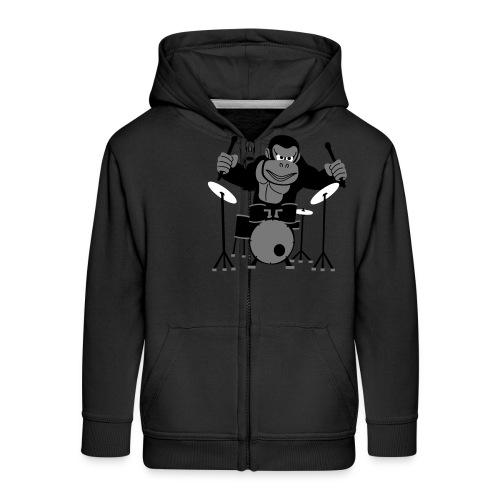 Drumming Gorilla - Kids' Premium Zip Hoodie