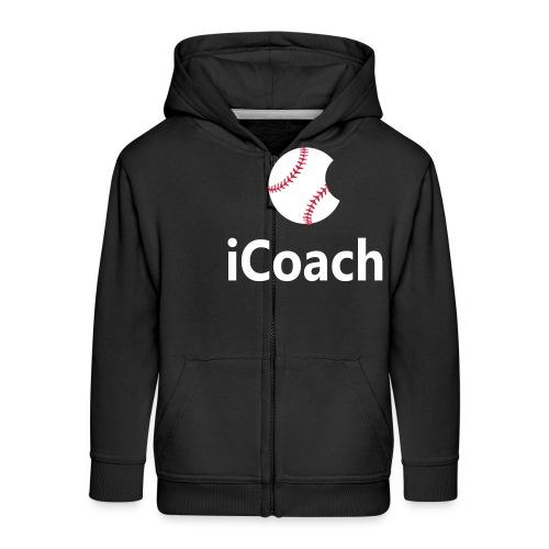 Baseball Logo iCoach - Kids' Premium Zip Hoodie