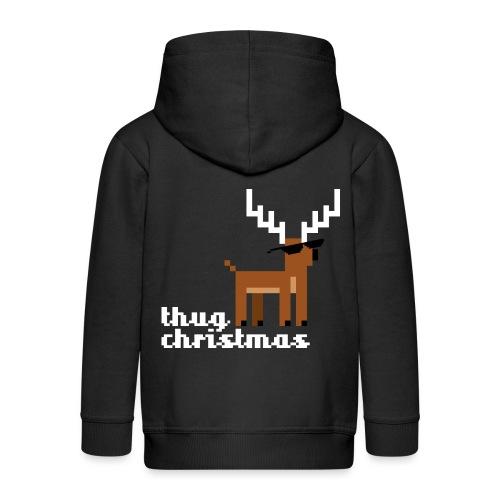Christmas Xmas Deer Pixel Funny - Kids' Premium Hooded Jacket