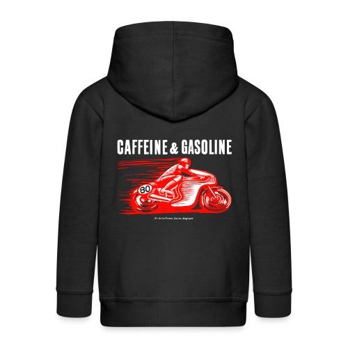Caffeine & Gasoline white text - Kids' Premium Hooded Jacket