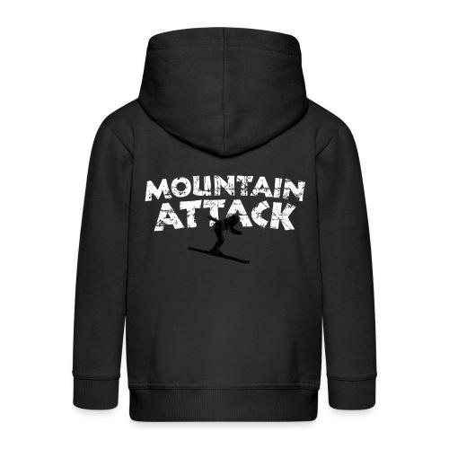 MOUNTAIN ATTACK Wintersport Ski Design (B&W) - Kinder Premium Kapuzenjacke
