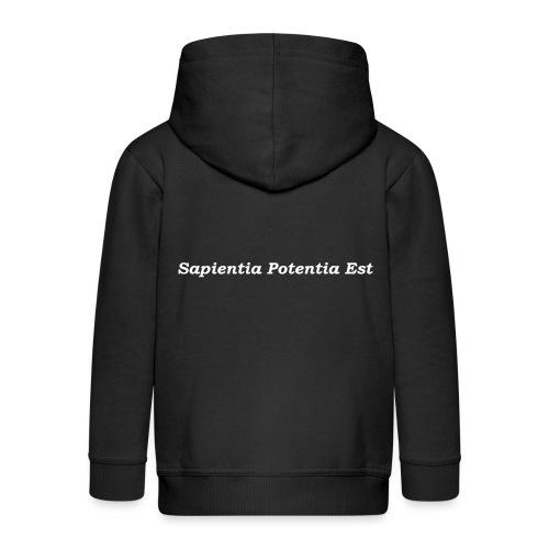 Sapientia Potentia Est - White Text - Kids' Premium Zip Hoodie