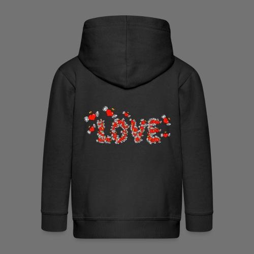 Latające miłości serc - Rozpinana bluza dziecięca z kapturem Premium