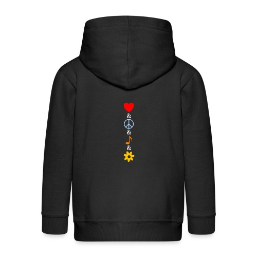 Love Peace Music Flower Hippie Summer - Kinder Premium Kapuzenjacke