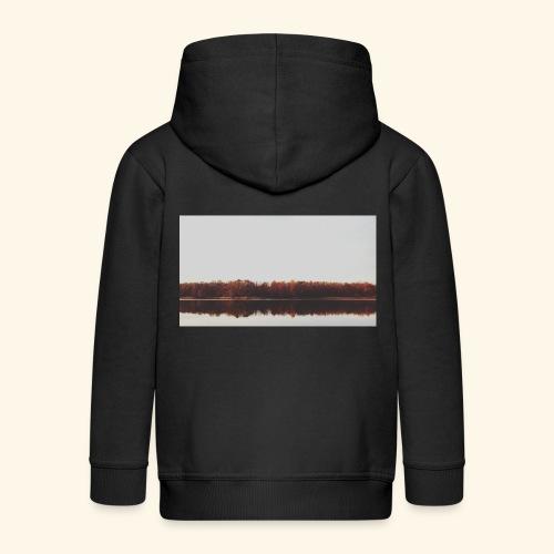 Jesienne jezioro - Rozpinana bluza dziecięca z kapturem Premium