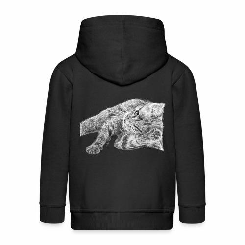 Small kitten in gray pencil - Kids' Premium Zip Hoodie