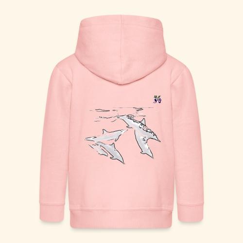 5 Gray dolphins - Kids' Premium Zip Hoodie