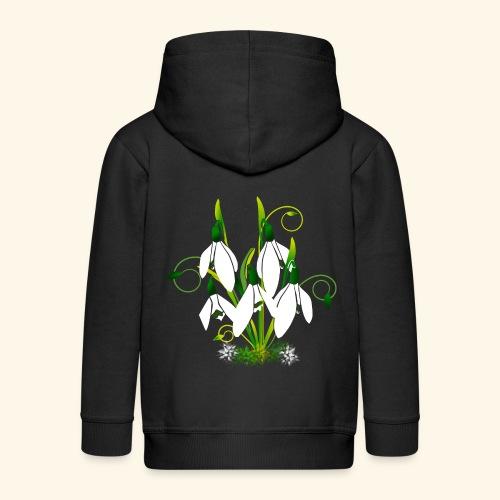 Schneeglöckchen, Blumen, Blüten, floral, Ornamente - Kinder Premium Kapuzenjacke