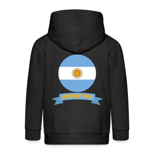 flag of argentina t shirt design ribbon banner - Felpa con zip Premium per bambini