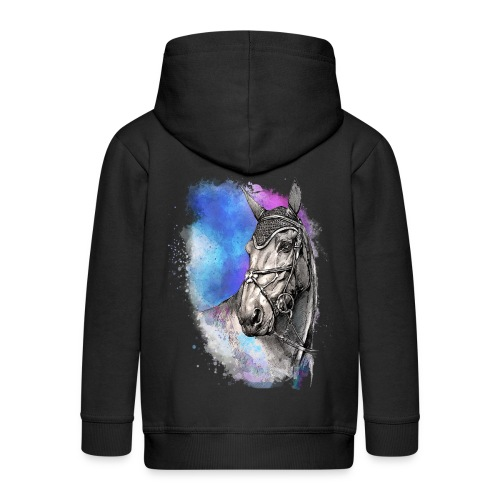 KOŃ GŁOWA akwarela z koniem horseTSHIRT - Rozpinana bluza dziecięca z kapturem Premium